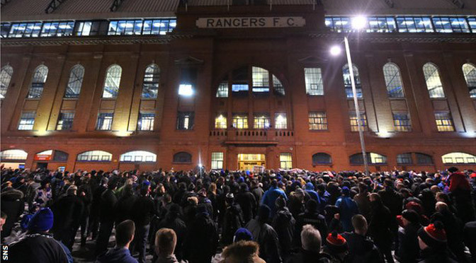 Rangers: Fans protest against board at Ibrox Stadium