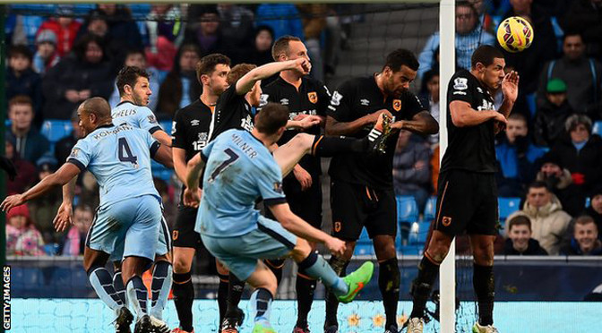 Premiership: Man City 1-1 Hull