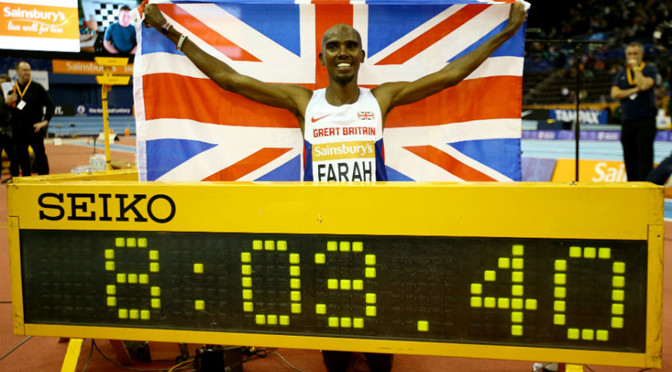 Athletics: Mo Farah breaks indoor two-mile world record in Birmingham