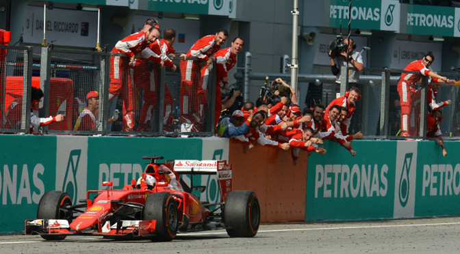 F1: Vettel beats Mercedes for first Ferrari win
