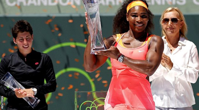 Miami Open: Serena Williams beats Carla Suarez Navarro to win